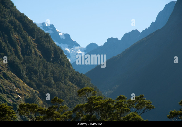 Mount Tutoko from the Tutoko valley, near Milford Sound, Fjordland, South Island, New Zealand - Stock Image
