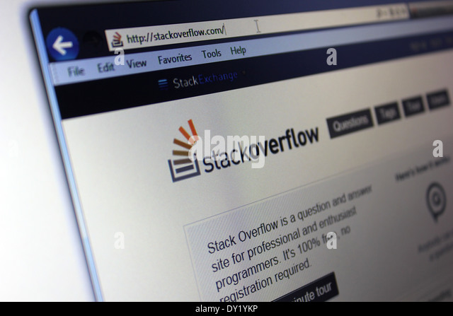 Stack Overflow Stack Exchange Network questions and answers website - Stock Image