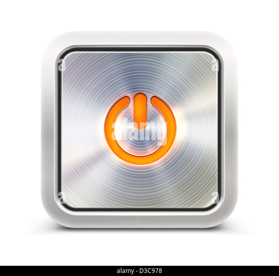 detailed power button in metallic style. Good for your websites, blogs or applications. - Stock Image