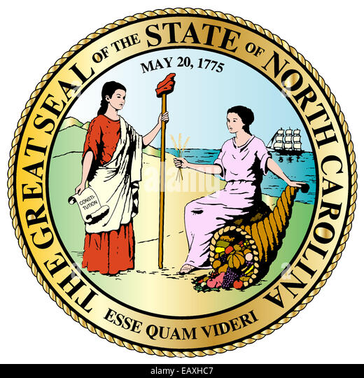 The North Carolina State Great Seal isolated on a white background - Stock Image