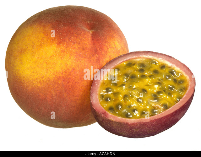 Peach and a half maracuja - Stock Image