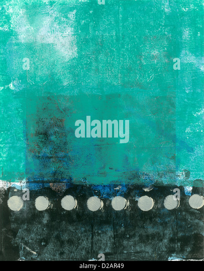 Abstract Teal And Black Painting with beige tones. - Stock Image