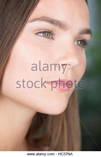 Portrait of wistful woman, close up - Stock Image