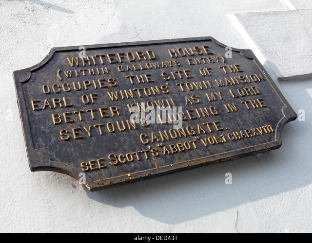 Whiteford House Plaque, Canongate, Holyrood Edinburgh Scotland - Stock Image