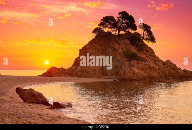 Sunrise at Cap Roig Beach, Costa Brava, Spain - Stock Image