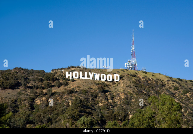The famous Hollywood Sign in the Hollywood Hills - Stock Image