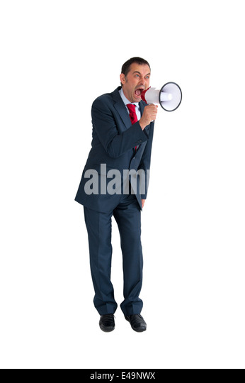 angry businessman with megaphone or loudhailer isolated on white - Stock Image