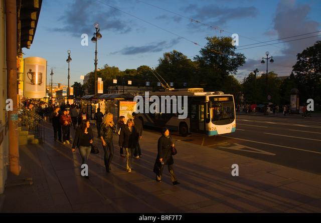 Nevsky Prospekt street central St Petersburg Russia Europe - Stock Image