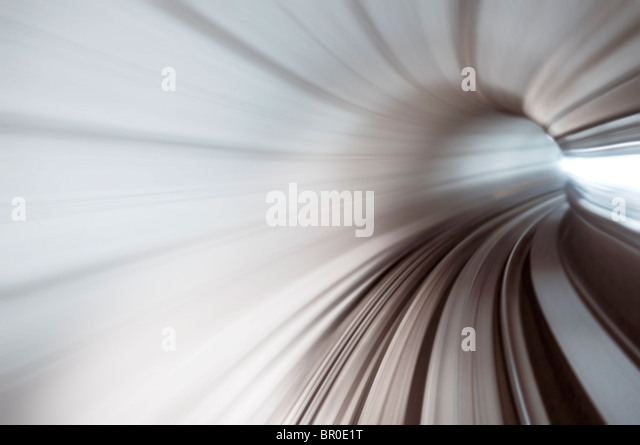Abstract train tunnel view in high speed. - Stock Image