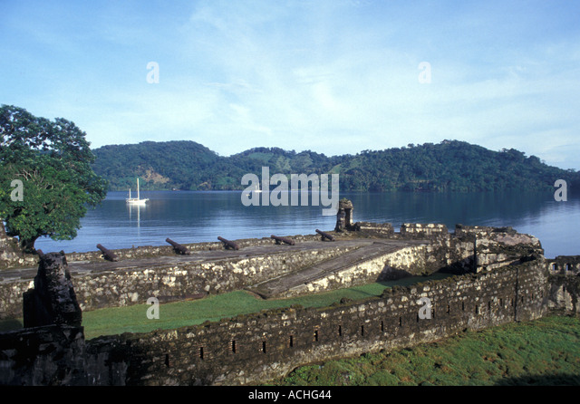 Panama Portobello Caribbean Coast Fort Santiago Overview cannons guard house - Stock Image