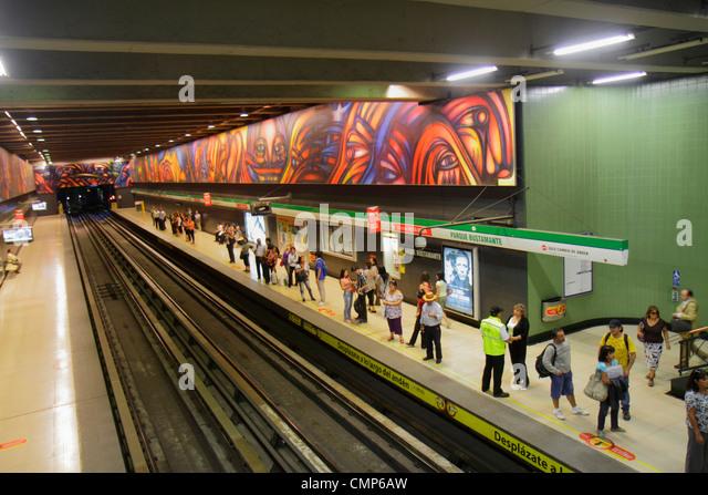 Santiago Chile Providencia Metro Station Parque Bustamante subway public transportation rapid transit train mural - Stock Image