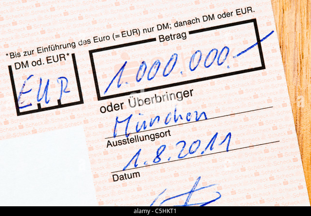 German banking, here a check of one million - Stock-Bilder