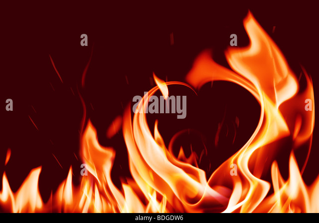 heart in fire - Stock Image