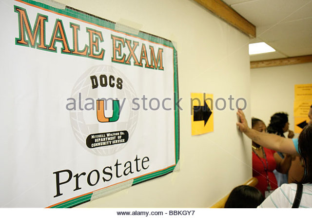 Miami Florida Liberty City Jessie Trice Community Health Center fair free care exam sign male exam prostate cancer - Stock Image
