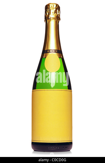 Photo of a Champagne bottle with blank labels, isolated on a white background. - Stock Image