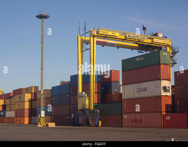 Containers with imported goods at the harbour in Montevideo, Uruguay, South America - Stock Image