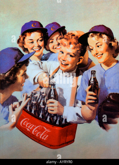 Old fashioned coca cola advert poster - Stock Image