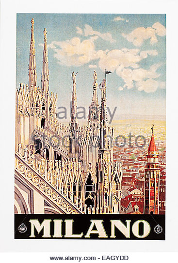 Vintage travel poster advertising MILAN - Milano Italy Travel Poster by Armando Pomi 1928. Editorial Only - Stock Image