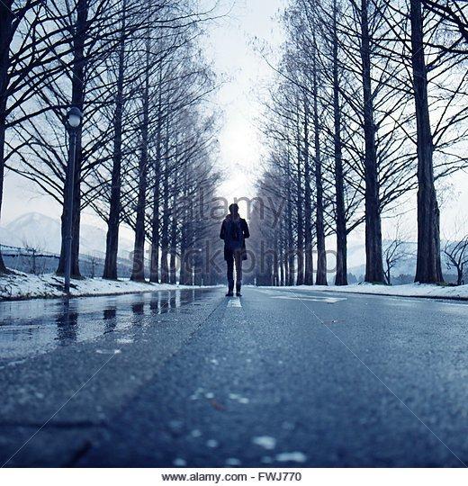 Man Walking On Road Along Bare Trees - Stock Image
