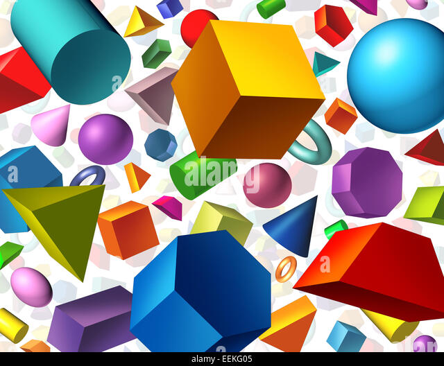 Geometric shapes background and geometry concept as basic three dimensional figures as a cube sphere cylinder floating - Stock Image