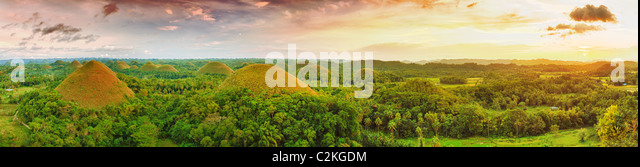 Panorama of The Chocolate Hills. Bohol, Philippines - Stock Image