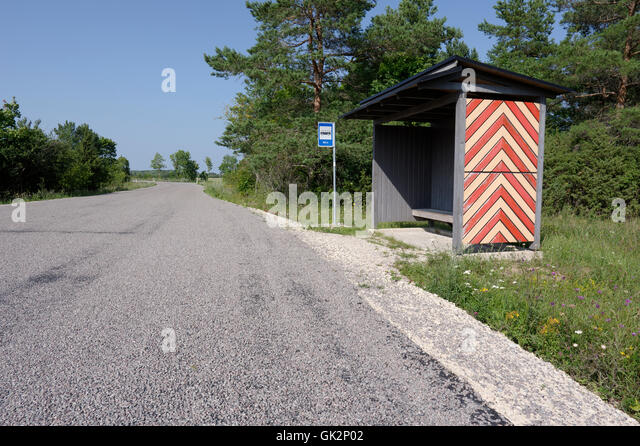 Mäla bus stop decorated with the national pattern of Muhu. Island Muhu. Estonia - Stock Image