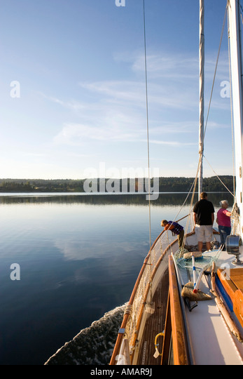 A family on a sailing boat - Stock-Bilder