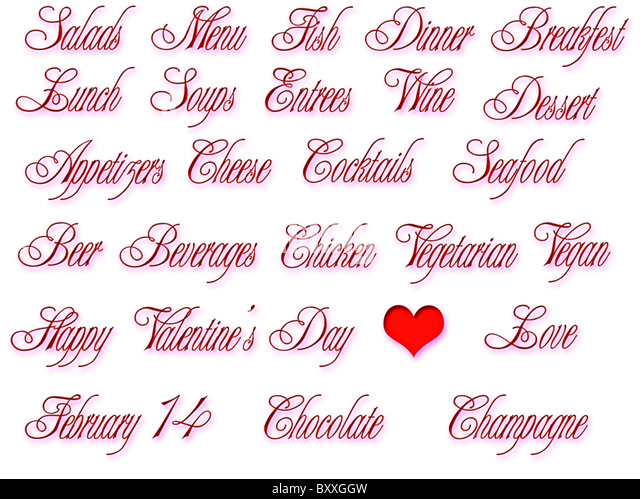 restaurant valentine menu day love red table food background white celebration luxury drink gourmet romantic wine - Stock Image