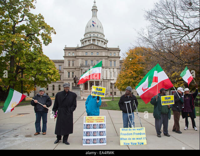 Lansing, Michigan - Members of the U.S. Foundation for Liberty promote democracy in Iran at the Michigan state capitol. - Stock Image