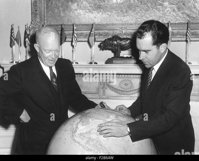 Vice President Richard Nixon discusses his Far East trip with President Eisenhower. Nov. 3, 1953. Eisenhower elevated - Stock Image