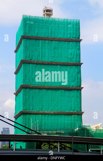 China Hong Kong Island Admiralty skyscraper building covered construction renovation - Stock Image