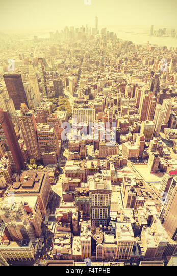 Retro toned aerial view of Manhattan, New York City, USA. - Stock Image