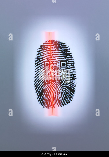 Fingerprint and QR code in scanner - Stock-Bilder