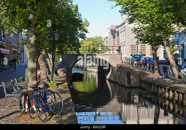 Bridge over canal in town centre of Edam Netherlands - Stock Image
