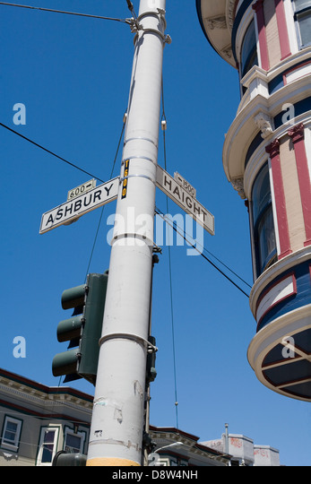 Road sign at junction of Haight and Ashbury Streets, Haight Ashbury, San Francisco, California - Stock Image