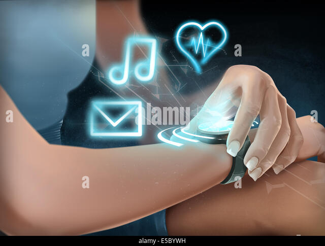 Illustration of woman wearing futuristic wristwatch - Stock Image