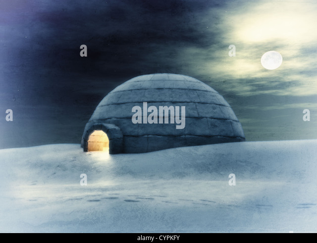 Igloo  at night ( 3D and hand-drawing elements combined.) - Stock Image