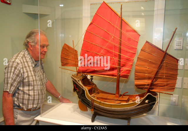 Massachusetts Cape Cod Chatham Atwood House Museum local history exhibit collection man senior - Stock Image