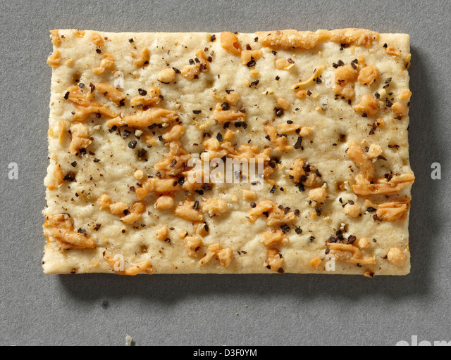 rectangular cheese seed biscuit savory - Stock Image