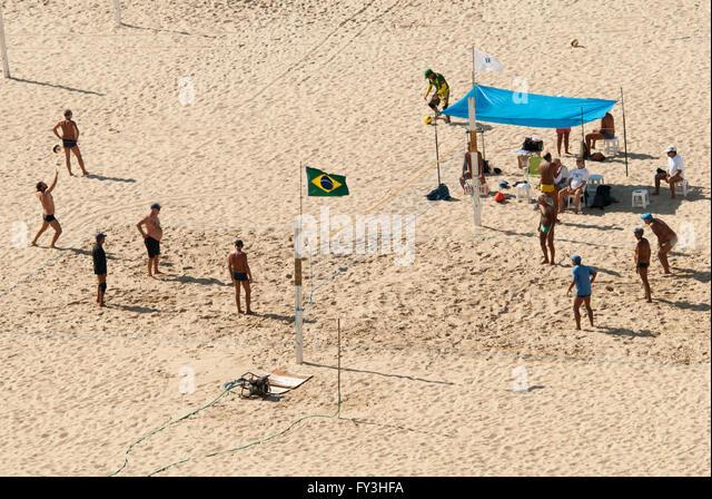 volleyball on the beach, Copacabana, Rio de Janeiro - Stock Image