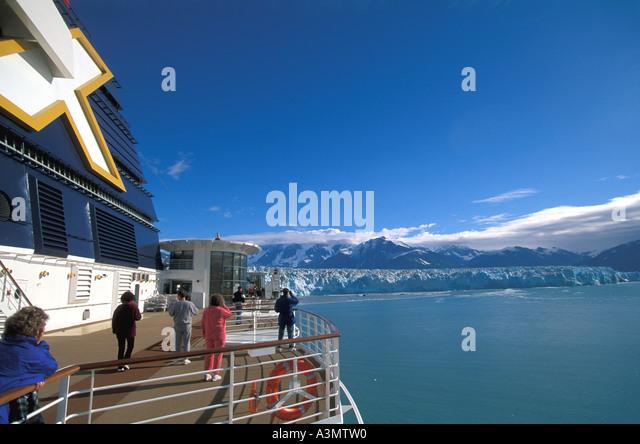 Alaska Hubbard Glacier cruise ship - Stock Image