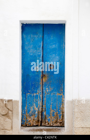 Blue wood door Mediterranean architecture Ibiza Balearic Islands - Stock Image