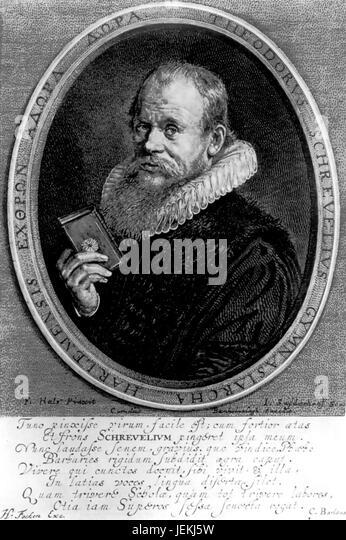 THEODORUS SCHREVELIUS (1572-1649) Dutch writer and poet. Engraving based on portrait by Frans Hals in 1617 - Stock-Bilder