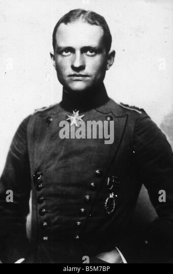 1 R40 B1916 1 E von Richthofen Red Baron Photo Richthofen Manfred Baron von Officer most successful German fighter - Stock Image