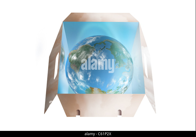 Planet earth shining bright in a dropbox - Stock Image