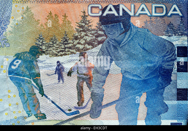 Ice Hockey players from 5 dollars banknote, Canada, 2008 - Stock Image