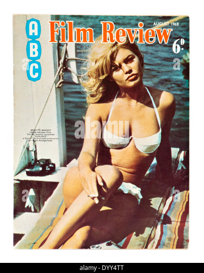 French actress Brigitte Bardot on the front cover of the August 1968 edition of ABC Film Review magazine - Stock-Bilder