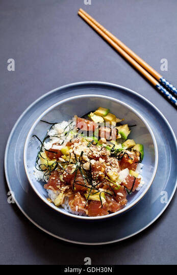 Traditional Hawaiian tuna poke - Stock Image