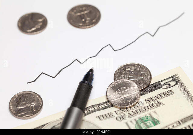 Rising chart and Dollar money - Stock Image