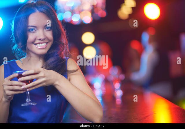 Lady with martini - Stock Image